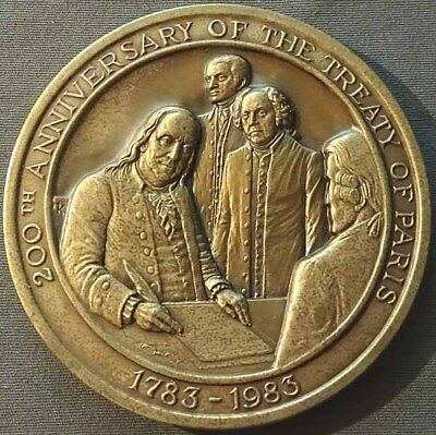 1983 Treaty Of Paris 200th Anniversary 76.2mm High Relief Bronze Medal