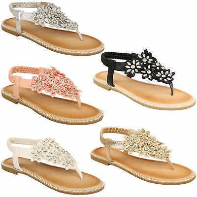 ee1eb42eecede1 Ladies Flat Sandals Womens Diamante Sling Back Toe Post Flowers Shoes  Summer New
