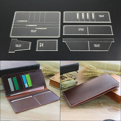 6Pcs Leather Long Wallet Template Clear Acrylic Pattern Leathercraft Tools