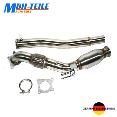 """Stainless steel Downpipe 76mm 3"""" with 200 Cell Cat for 1.8 2.0 GTI TSI TFSI VAG"""