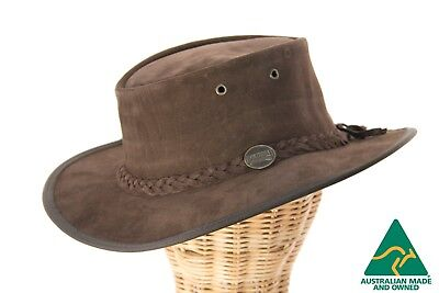Barmah Foldable Australian Chocolate Suede Leather Outback Hat Made in Australia
