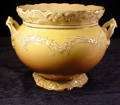 Antique Wheeling Pottery Porcelain Jardiniere With Gold Accents 1890's-1900's