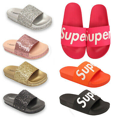 92dfd66b3d85f Ladies Womens Glittery Slides Mules Slip On Flip Flops Summer Beach Sandals  Size