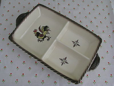 """RED ROOSTER Poppy Trail Metlox 3-part divided RELISH TRAY 13"""" x 9"""" XLNT!"""