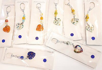 Wholesale Job Lot 8 Hand Made Millefiori Heart Silver Plated Necklaces Jewellery