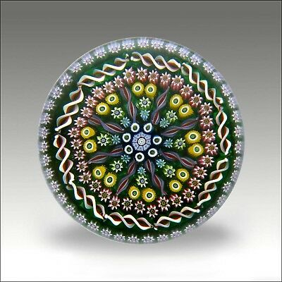 Perthshire LE  PP31 millefiori signed glass paperweight + label / presse papiers