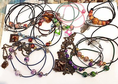 Wholesale Job Lot 17 Mixed Hand Made Necklaces Jewellery Resin Gemstone Beads