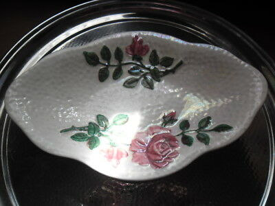 Vintage Maling White Lustre Dish With Pink Rose's
