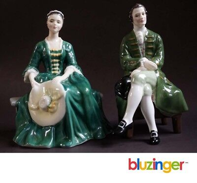 Vintage Royal Doulton Williamsburg  Lady & Gentleman Porcelain Figurines (c) 195