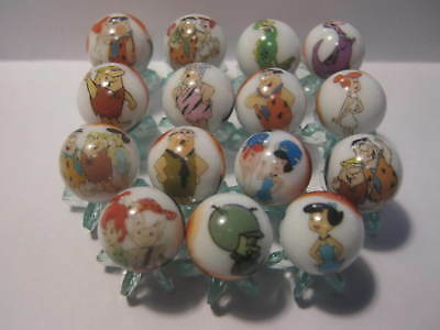 THE FLINTSTONES 5/8 size lot of glass marbles + stands