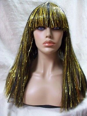 Egyptian Goddess Wig w/ Gold Cleopatra Queen Nile Ancient Mummy Princess Egypt