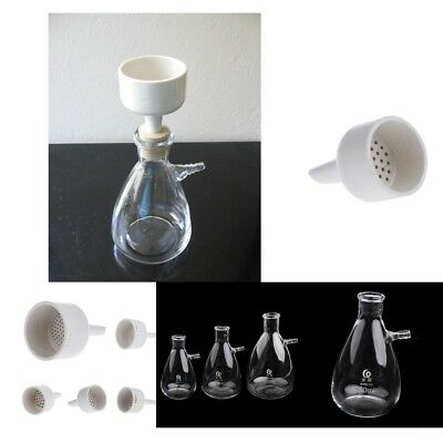 Lab Glass Vacuum Suction Filter 40-120mm dia Buchner Funnel & 250-1000ml Flask