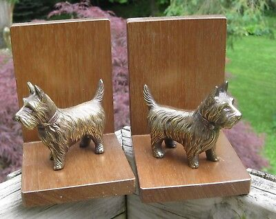 Vintage Scottie Dog Bookends Metal Dog on Walnut Wood