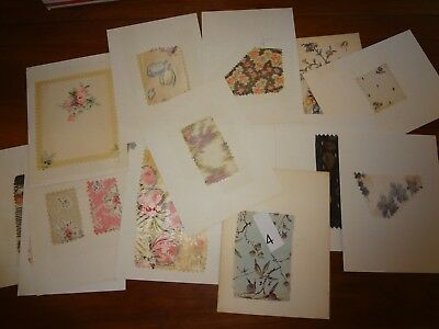 Antique Vintage fabric lot 15 swatch samples Silk American & French 1850 - 1920