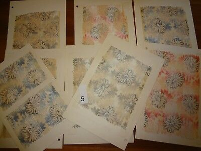 Antique Vintage fabric lot 8 samples swatch Silk 1900 - 1910 Swiss from a Museum