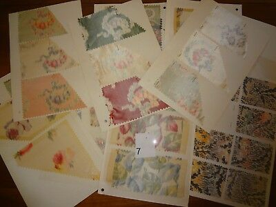 Antique Vintage fabric lot 12 swatch samples Silk 1900 - 1910 American & French