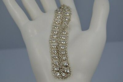 """Exquisite Vintage STERLING SILVER Braided Hearts 9""""Anklet w/1"""" Extension"""