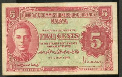 Vintage Currency 5 Cent banknote BOCOC Malaya 1941 Five Cents foxing good color