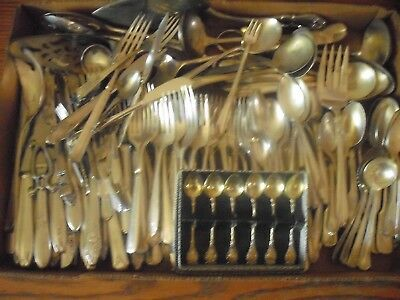 150 Pc Mixed Lot Silverplate/Antique Flatware/Serving   #195