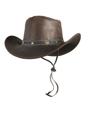 Cappello occidentale TEXAS da Cowboy in pelle MENTO BAND Marrone S M L XL 8ba2c12c3d49