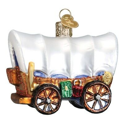 Old World Christmas Covered Wagon Glass Ornament 46012 FREE BOX Stagecoach New