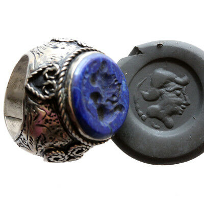 Massive Near Eastern Medieval Silver Seal Ring With Lapis Lazuli Stone