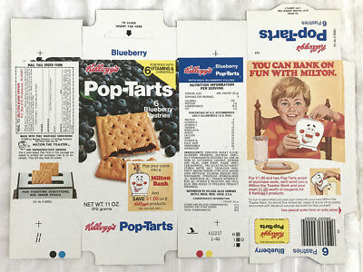 Old Vintage 1980 1980's Kellogg's Blueberry Pop-Tarts Box Mint Flat Milton Bank