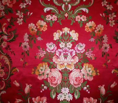 EXQUISITE 19th CENTURY FRENCH SILK BROCADE, ROSES, SPITALFIELDS LYON, PROJECTS 1