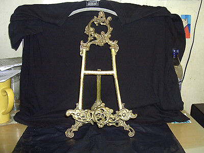 Vintage Brass Art Nouveau Picture Easel Display Stand
