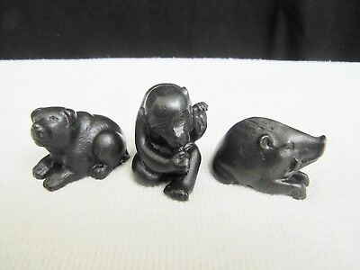 Lot of 3 Antique Japanese Miniature Bronze Statues