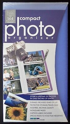 NEW~PORTAVIEW Compact Photo Organizer~Acid Free~Archival~BLUE~Holds 144~SEALED