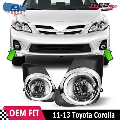 For Toyota Corolla 11-13 Factory Bumper Replacement Fit Fog Lights Clear Lens