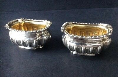 2 x Antique Solid Silver Gilt Lined Open Salts B Condiments.