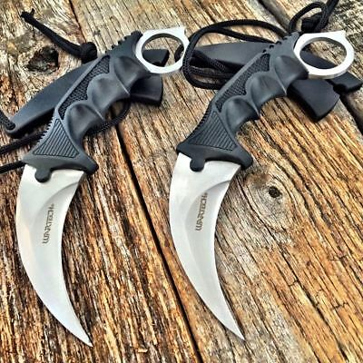 2PC TACTICAL COMBAT KARAMBIT KNIFE Survival Hunting BOWIE Fixed Blade w/SHEATH-T