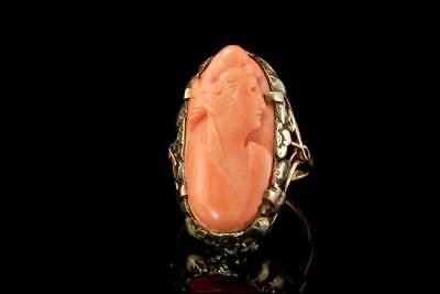 Antique Victorian Carved Pink Coral Cameo Greek Lady 14K Gold Ring D60-06