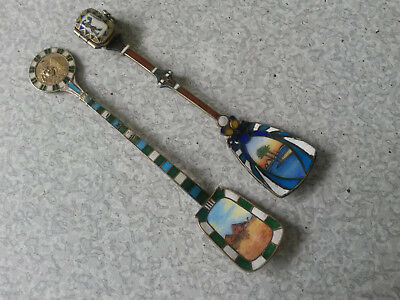 2 - Antique Egyptian 800 Silver Gilt Enamelled Spade Spoon - Opening Sarcophogus