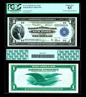 Fr. 712 $1 1918 Federal Reserve Bank Note ~ PCGS 63