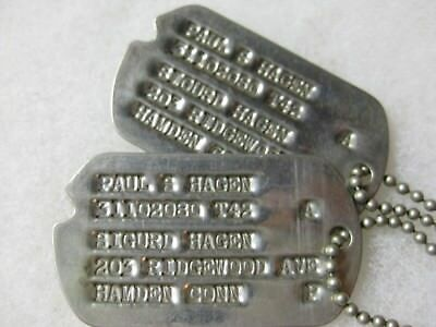 Wwii Us Army 1942 Dog Tags Set Early Next Of Kin Issue Hamden Connecticut