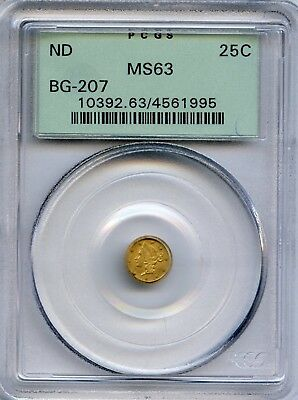 ND RD Liberty G25C California Fractional Gold / BG-207 PCGS MS63