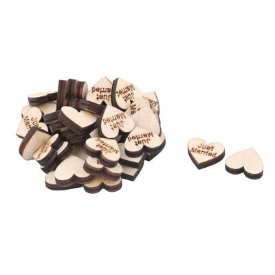 Wooden Slices Heart Shape DIY Crafts Wedding Table Decor Accessories 40 Pcs