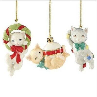 Lenox Christmas Furry Friends Critters Kitty Cat Ornament Set of 3 NIB