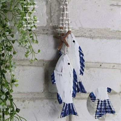 Wooden Hanging Fish Coastal Village Handicrafts Nautical Wall Decor Wood 2Pcs