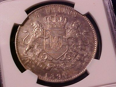 Belgian Congo Free State 5 Francs Silver Crown 1896/4 Au Details Ngc Rare