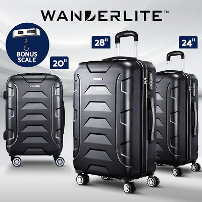 Wanderlite Luggage Sets Suitcases 3PC PP TSA Travel Lightweight Hard Case Black