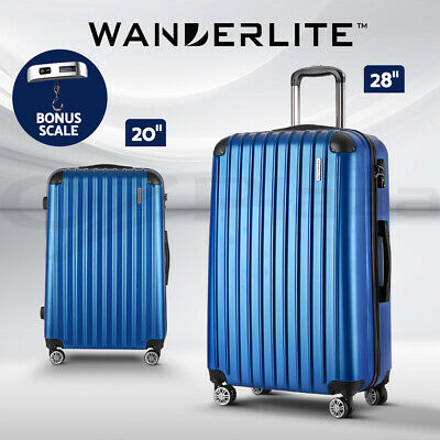 Wanderlite 2pc Luggage Sets Suitcases Blue TSA Hard Case Lightweight Scale