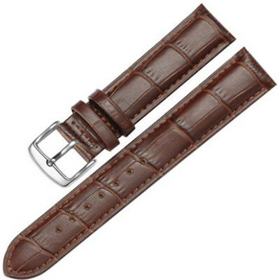 14-24mm Mens Womens Unisex Silver Clasp Wrist Watch Leather Strap Bands & Tool