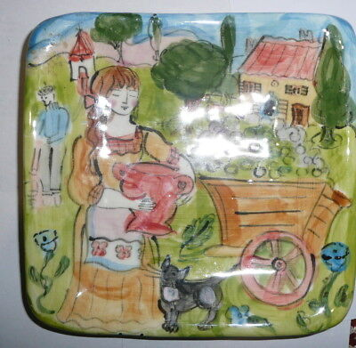 Wendy Littlewood Australian Hand Painted Ceramic Pottery Dish Olive Harvest 1999