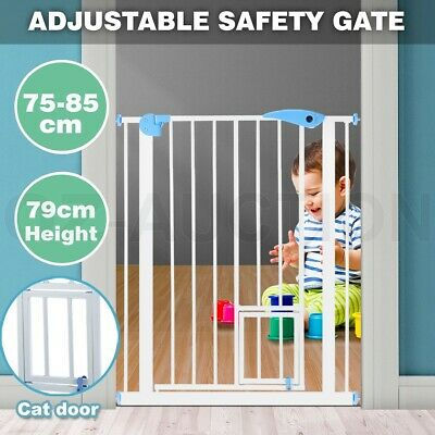 79cm Tall Baby Safety Security Gate Adjustable Pet Dog Stair Barrier w/ Cat Door