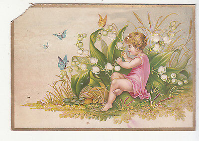 A S Mann & Co Rochester NY Girl Nymph in Pink Butterflies Vict Card c1880s