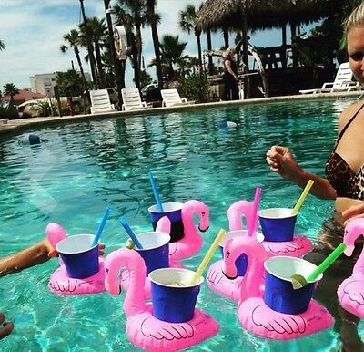 4pcs Swimming Inflatable Unicorn Floating Pool Bath Beach Drink Can Cup Holder